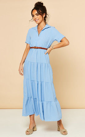 Tiered Maxi Dress with Short Sleeves in Light Blue by Bella and Blue