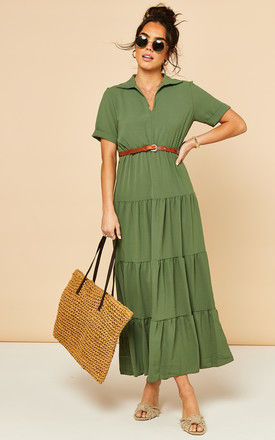 Tiered Maxi Dress with Short Sleeves in Khaki by Bella and Blue