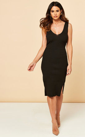 Ribbed Knitted Tie Waist Midi Dress in Black by Bella and Blue