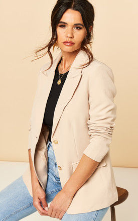Blazer with Gold Buttons in Nude by Bella and Blue