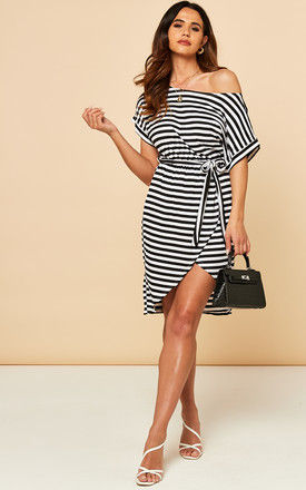 Off Shoulder Dress With Tie Waist In Black And White Stripe by Bella and Blue