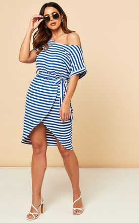 Off Shoulder Dress with Tie Waist in Blue and White Stripe by Bella and Blue