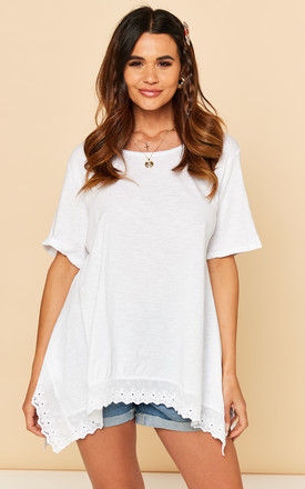 T Shirt with Broderie Hemline in White by Bella and Blue