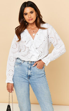 Broderie Blouse with Frill detail in white by Bella and Blue