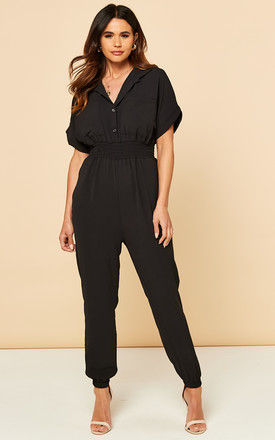 Jumpsuit with Short Sleeves in Black by Bella and Blue
