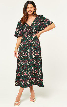 V neck floral print maxi drss with frill detail in multicoloui by D.Anna