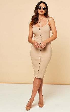 Sleeveless Midi Dress With Button Front In Beige by VM