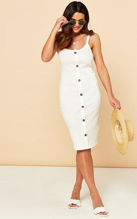 Sleeveless Midi Dress With Button Front In White by VM
