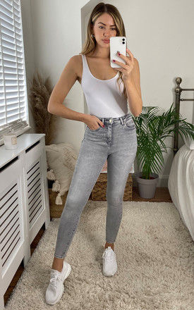 Skinny High Waist Jeans in Light Grey Wash by ONLY