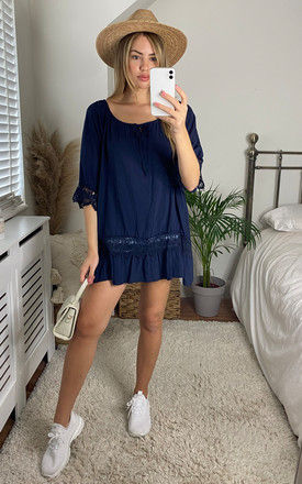 Oversized Tie Neck Top with Lace Detail in Navy by Bella and Blue
