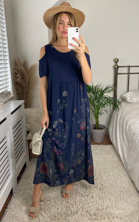 Cold Shoulder Maxi Dress in Navy Floral by Bella and Blue