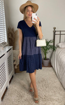 Tiered Contrasting Midi Dress in Navy by Bella and Blue