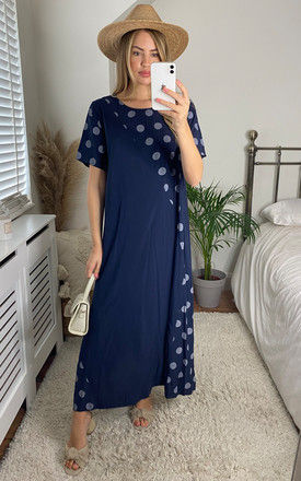Maxi Oversized T Shirt Dress in Navy Polka Dot by Bella and Blue