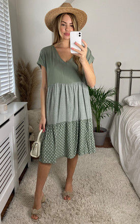 Tiered Contrasting Midi Dress in Khaki by Bella and Blue
