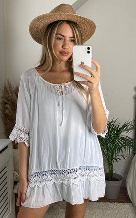 Oversized Tie Neck Top with Lace Detail in White by Bella and Blue