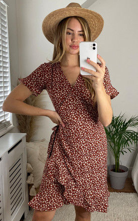 Short Sleeve Wrap Dress with Frill Hem in Ditsy Floral Burnt Orange by ONLY