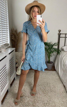 Short Sleeve Wrap Dress with Frill Hem in Blue Ditsy Floral by ONLY