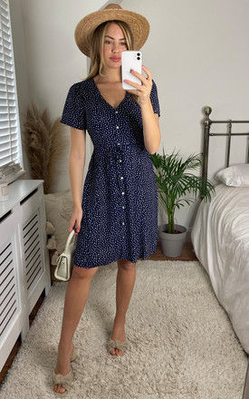 Short Sleeve Tea Dress with Waist Tie in Navy Ditsy Print by ONLY