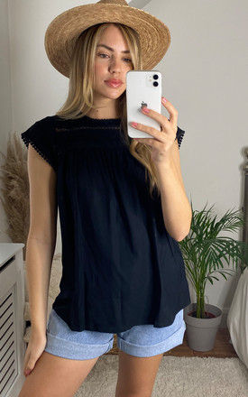 Short Sleeve Top with Lace Detail in Black by VM