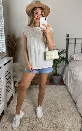 Short Sleeve Top with Lace Detail in White by VM