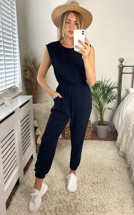 Sleeveless Jumpsuit with Elasticated Waist in Black by Bella and Blue