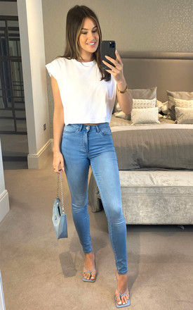 High Waist Skinny Jeans in Light Blue by ONLY