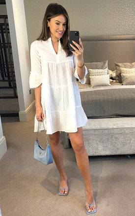 Tiered Mini Dress With 3/4 Sleeve In White by VM