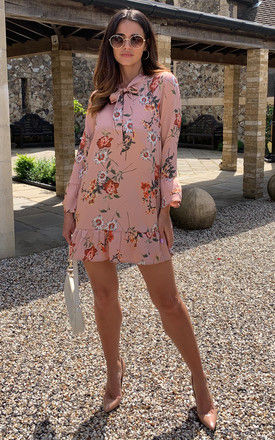 Blush floral long sleeve dress with tie bow and frill detail by D.Anna