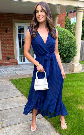 Sleeveless Plunge Maxi Dress in Navy by Bella and Blue