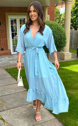 Plunge Maxi Dress in Turquoise by Bella and Blue