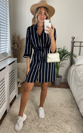 Shirt Dress in Black Stripe by ONLY