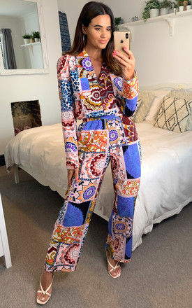 Patch work print pyjama set with pocket and elasticated waistband by D.Anna