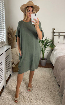 Oversized Dress with Side Pocket in Khaki by Bella and Blue
