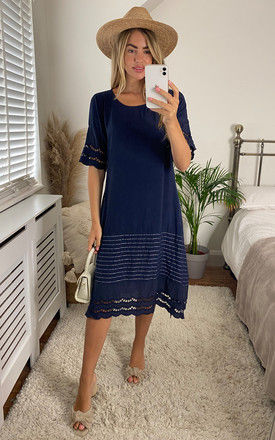 Midi Dress with Broderie Detail in Navy by Bella and Blue