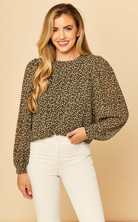 Sheer Sleeve Blouse in Ditsy Floral Khaki by Object