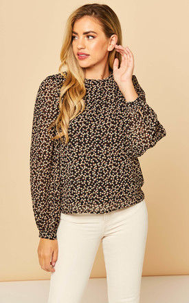 Sheer Sleeve Blouse in Ditsy Floral Black by Object