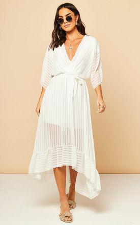 Cream Plunge Maxi Dress by Bella and Blue