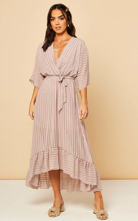Plunge Maxi Dress in Pink Champagne by Bella and Blue