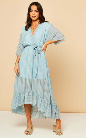 Plunge Maxi Dress in Baby Blue by Bella and Blue