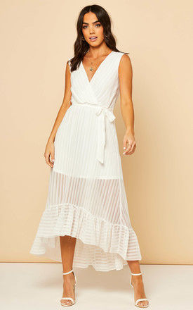 Sleeveless Plunge Maxi Dress in White by Bella and Blue