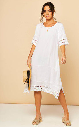 Midi Dress With Broderie Detail In White by Bella and Blue