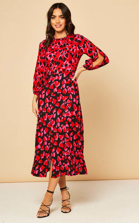 Puff Sleeve Midaxi Dress in Red Heart Print by Closet London