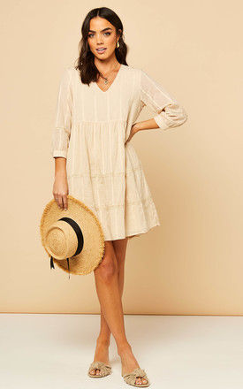 Smock Dress with textured polka dot in Beige by Object