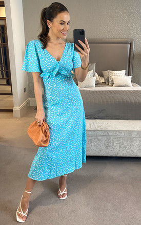 Turquoise heart print maxi dress with frill detail by D.Anna