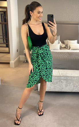 Green/black leopard midi wrap style skirt with elasticated waist band by D.Anna
