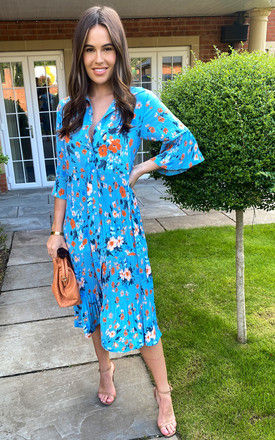 Midi Shirt Dress with Pleats in Blue Floral by Bella and Blue
