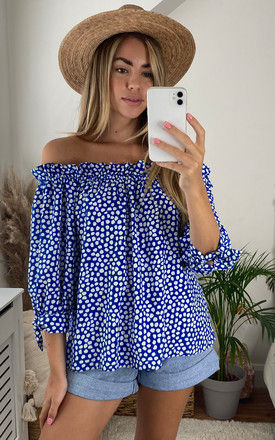 Polka Dot Bardot Top in Blue by Bella and Blue