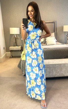 Halter neck floral print pleated maxi dress in blue by D.Anna