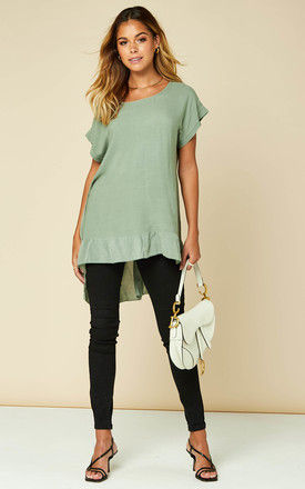 Dipped Frill Hem T Shirt Top in Khaki by Bella and Blue