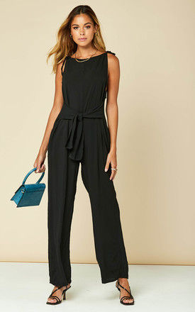 Tie Front Jumpsuit in Black by Bella and Blue